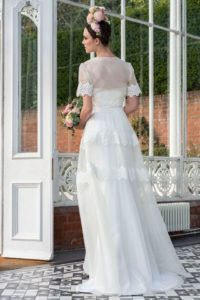 Sleeved vintage wedding dress for curvy bride in Stratford-Upon-Avon