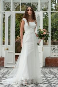 Vintage Freda Bennet wedding dress for curvy bride at Stratford-Upon-Avon bridal shop
