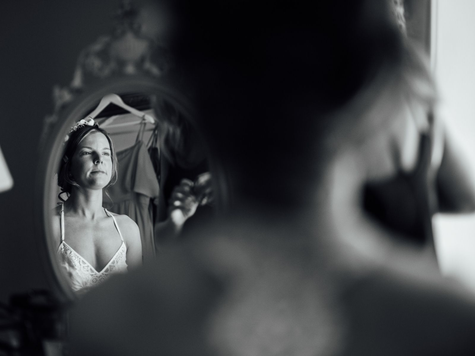 Bride getting ready for her relaxed countryside wedding