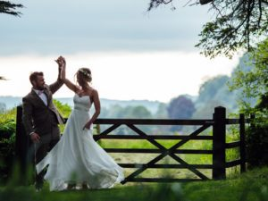 Couple dancing outdoor wedding floating bohemian wedding dress stratford