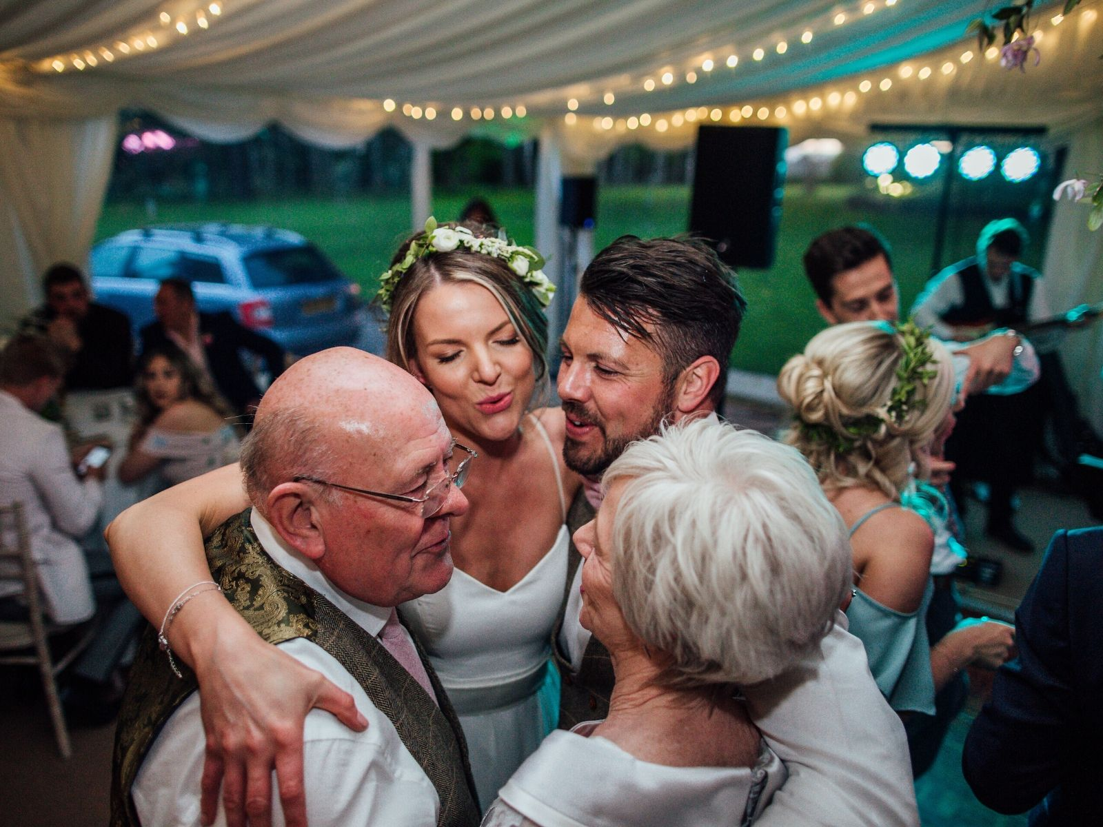 Family dancing at wedding in Warwickshire