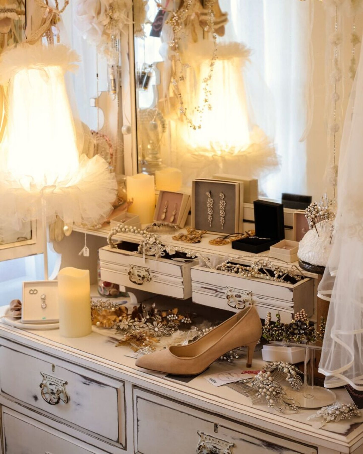 Inside Boho Bride Boutique wedding dress accessories shop Stratford-Upon-Avon Warwickshire