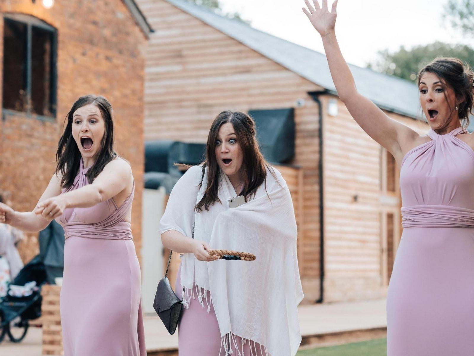 Bridesmaids in pink ASOS bridesmaid dresses