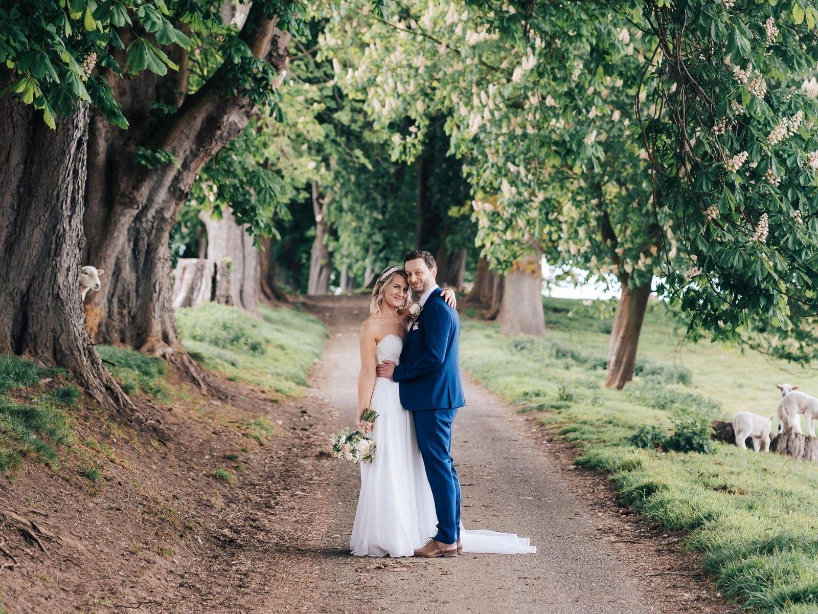 Couple wedding photography bride wearing Millie May wedding dress stratford wedding dress shop