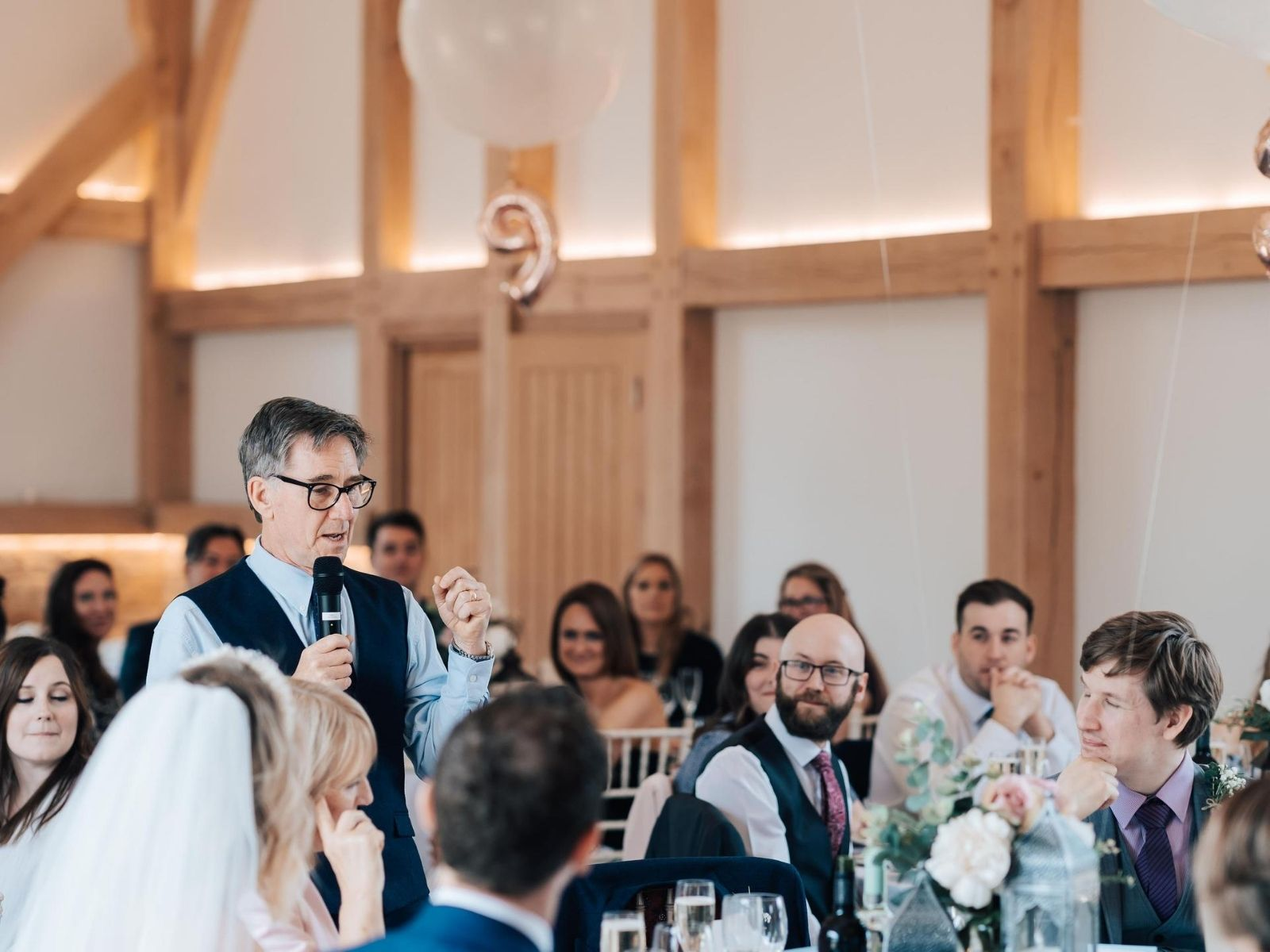 Wedding speeches at barn wedding in UK