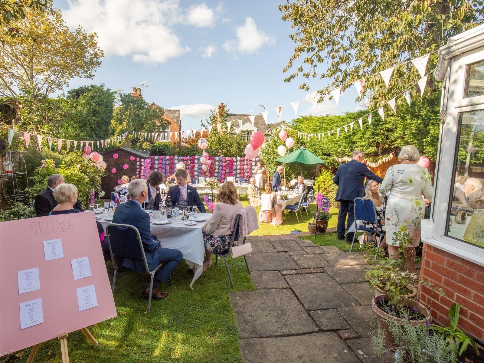 Rachel's wedding in her parents' back garden