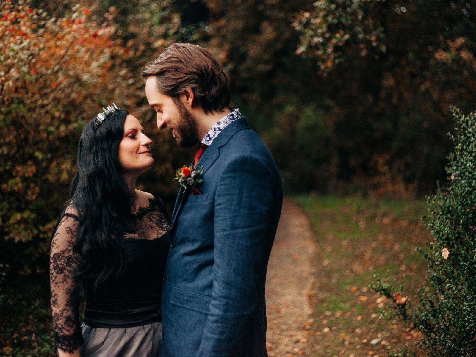 Autumnal wedding black wedding dress