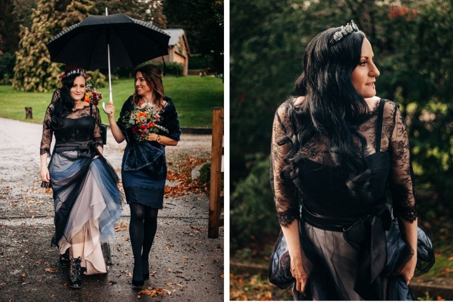 A Bespoke Black Wedding Dress for Abi's Intimate Wedding