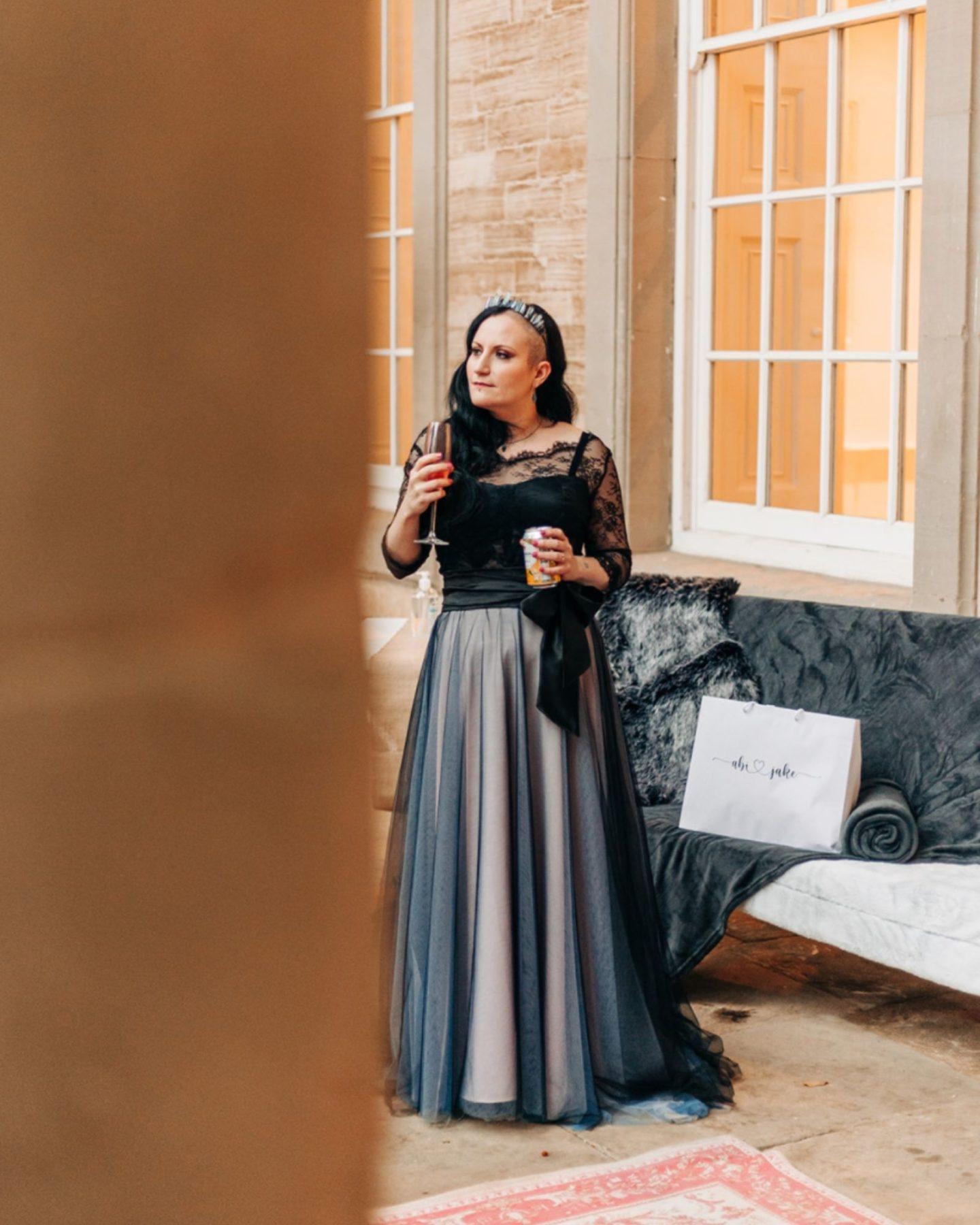 bespoke black wedding gown