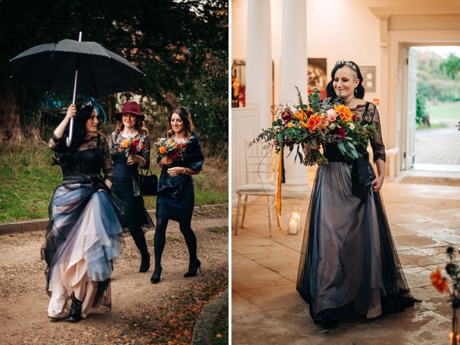 Boho Bride bespoke black wedding dress