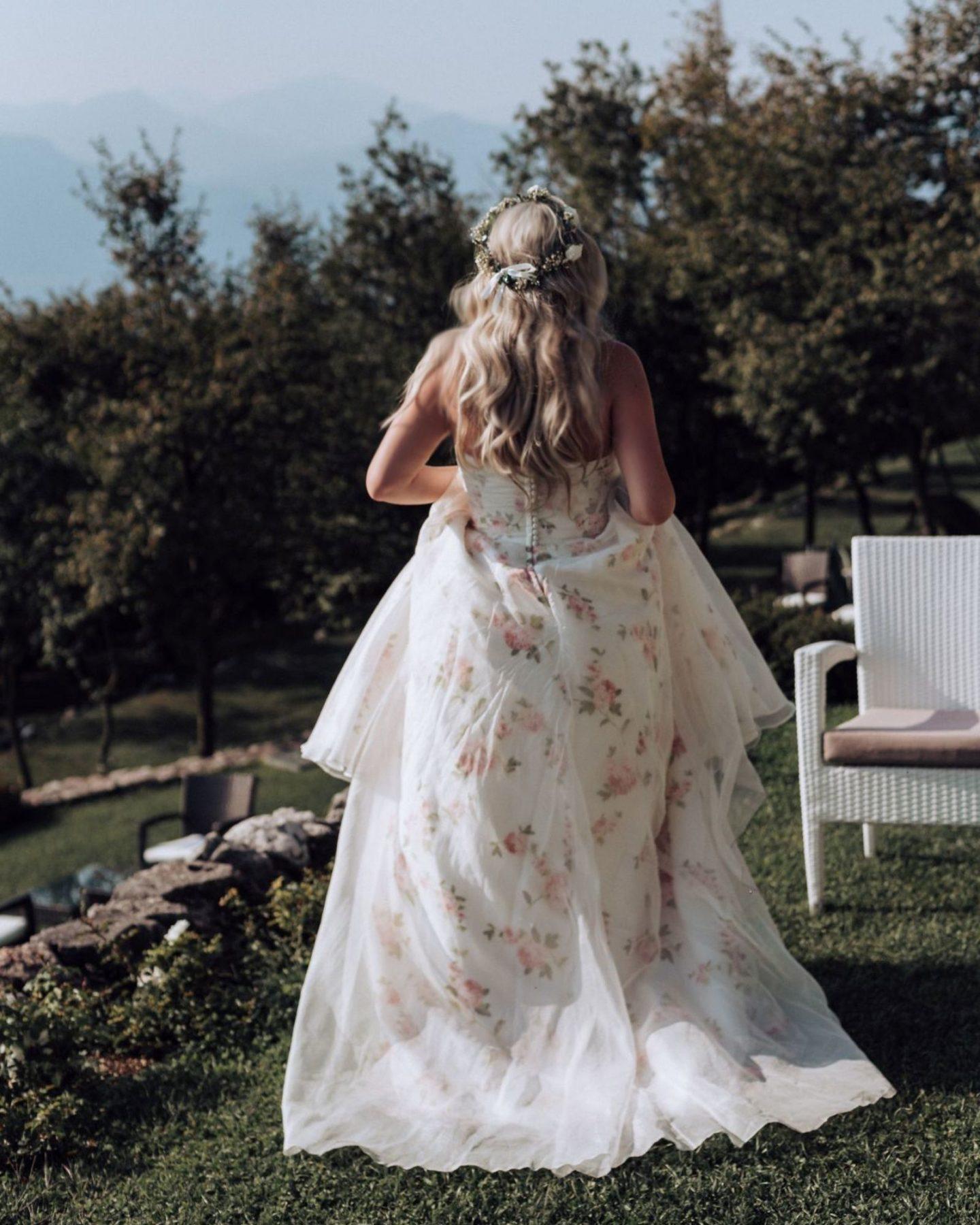floral pink rose wedding dress