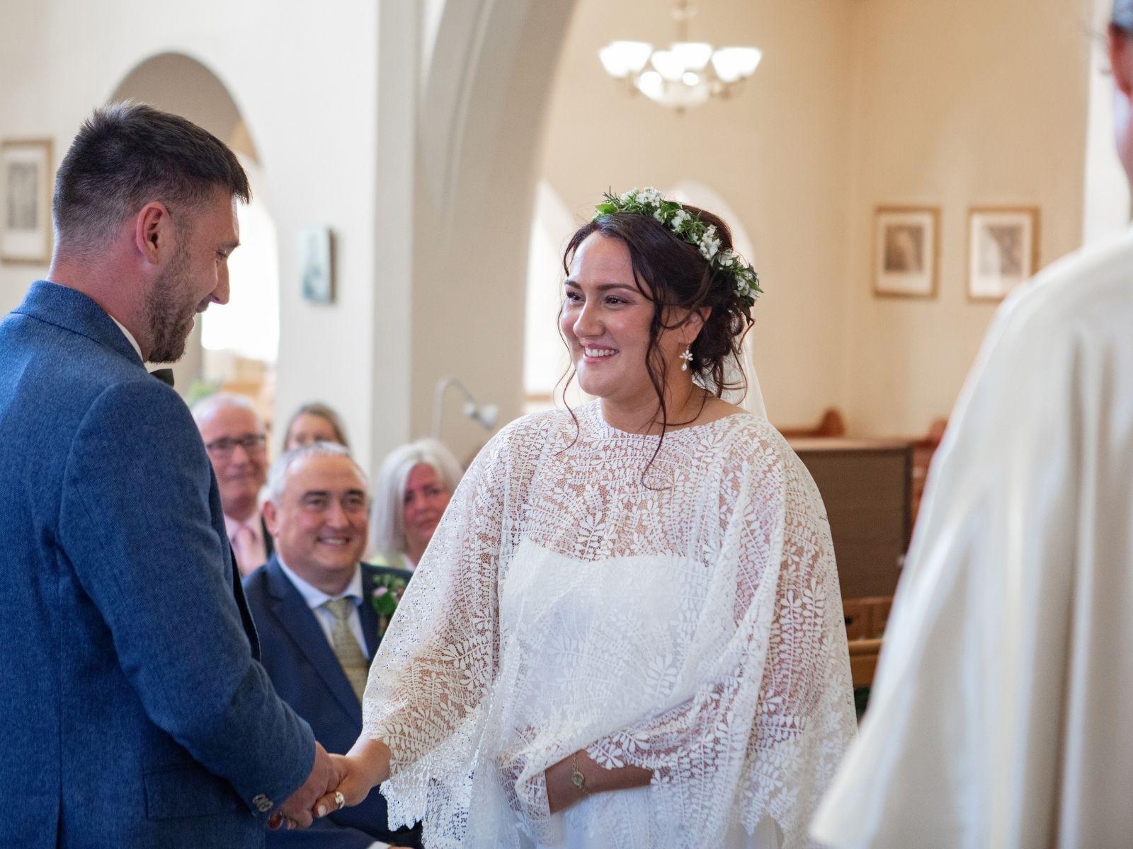 Intimate Cornwall wedding designer wedding dress