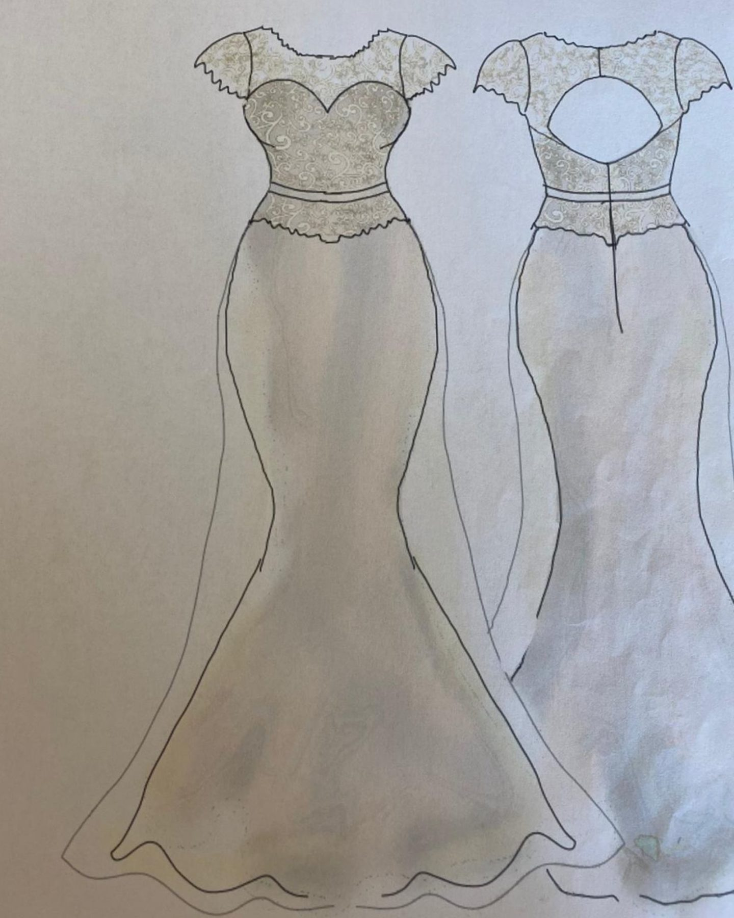 Bespoke wedding dress sketches by Boho Bride Boutique in Stratford Upon Avon