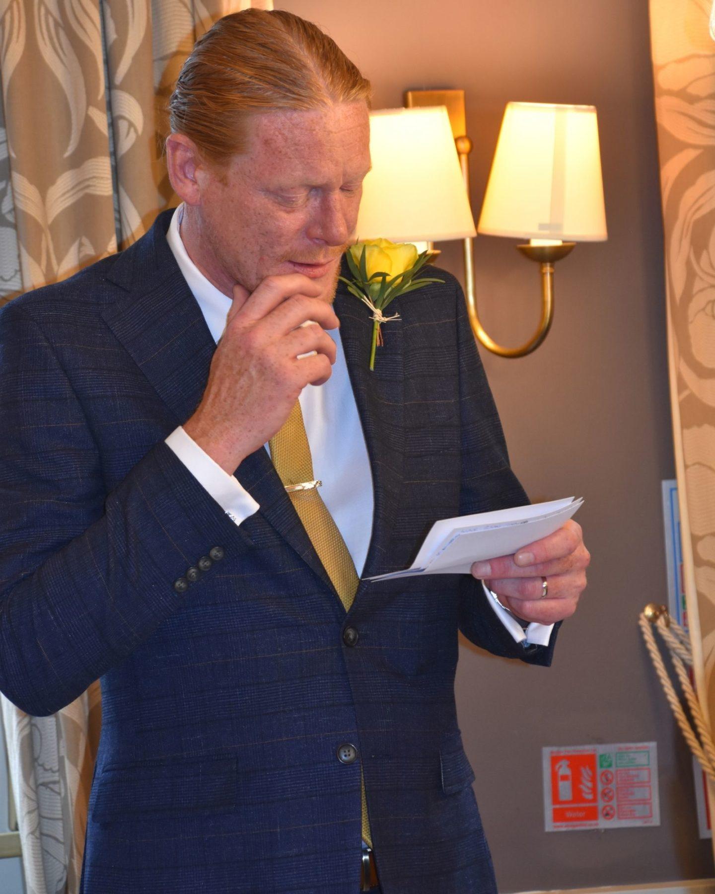 Estelle's husband Simon giving a speech at their wedding day